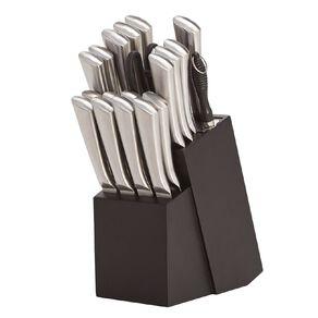 Living & Co Pinewood Knife Block Set 20 Piece Silver