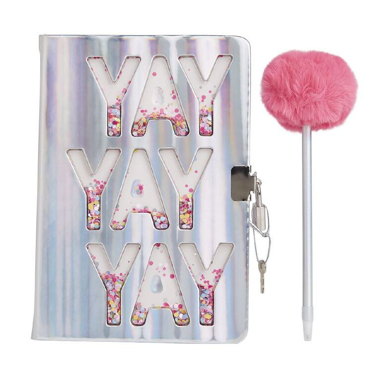 Kookie Bright Notebook & Pen Set With Lock Pink A5, , hi-res