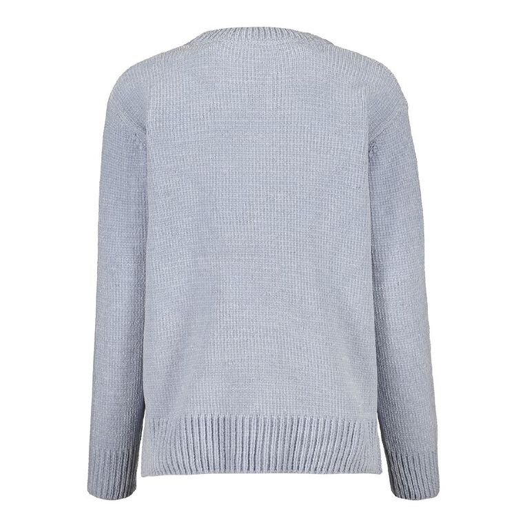 H&H Women's Chenille Step Hem Jumper, Blue Light, hi-res