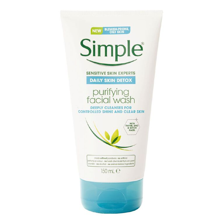 Simple Daily Skin Detox Purifying Facial Cleanser 150ml, , hi-res
