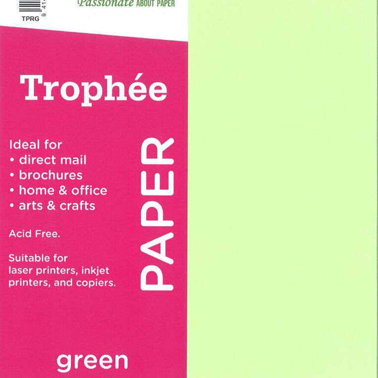 Trophee Paper 80gsm 500 Pack Green A4, , hi-res