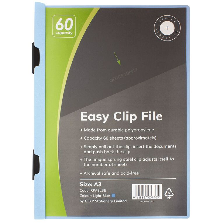 Office Supply Co Easy Clip File Portrait 60 Capacity Light Blue A3, , hi-res