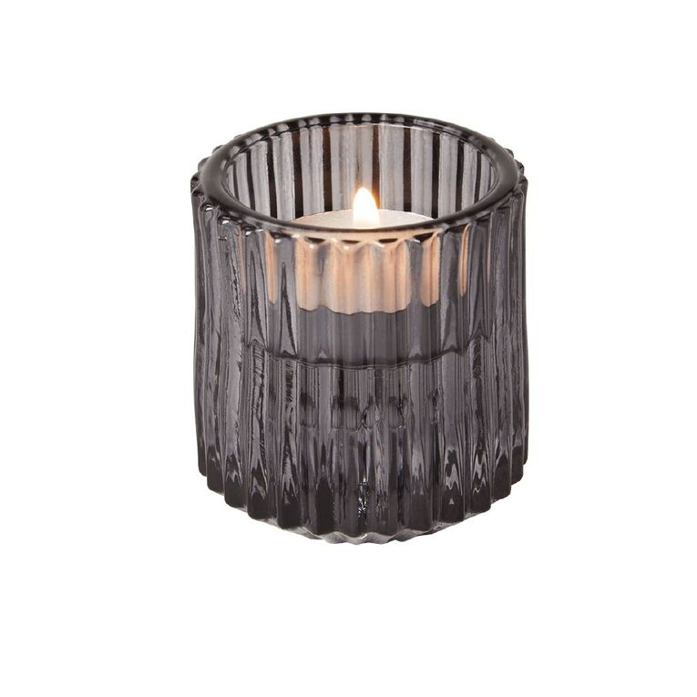 Living & Co Textured Tealight & Table Candle Holder Grey, , hi-res