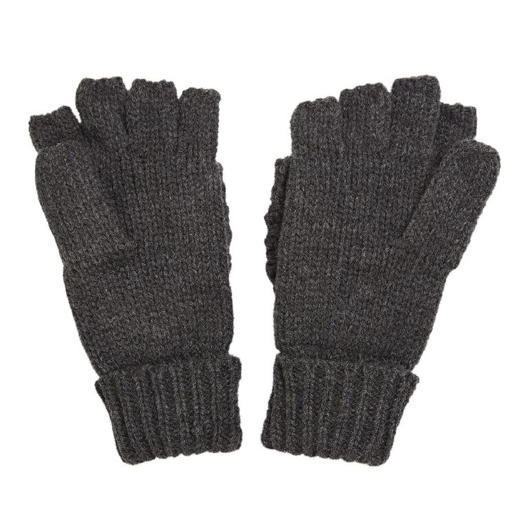 H&H Women's Cable Mittens Gloves, Charcoal/Marle, hi-res