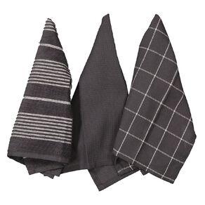 Living & Co Aria Tea Towel Set 3 Pack Charcoal 40cm x 65cm