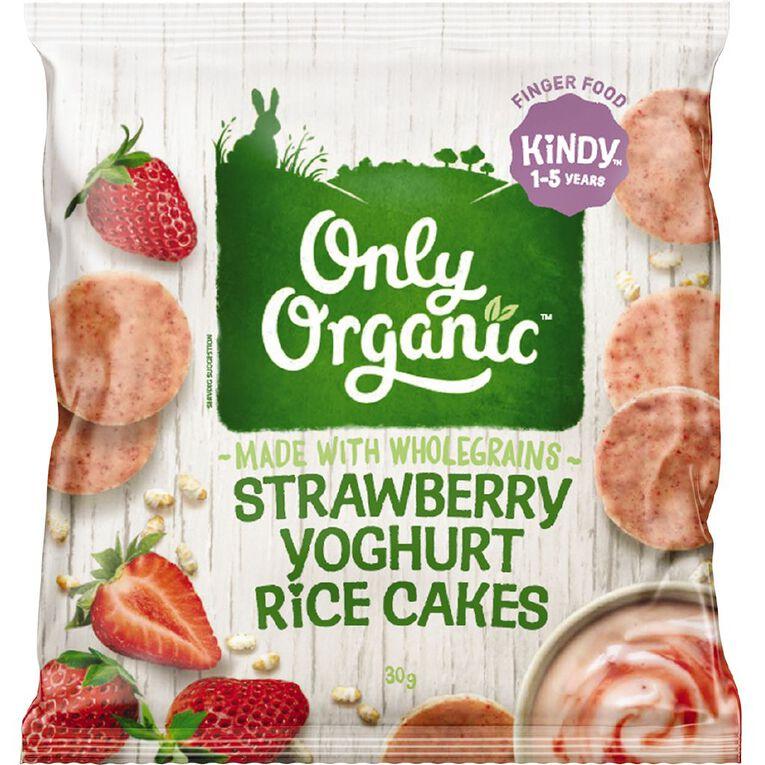 Only Organic Strawberry Yoghurt Rice Cakes 30g, , hi-res