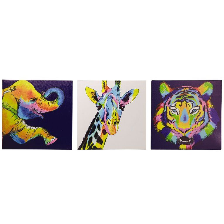 Living & Co Bright Animal Trio Canvas 30 x 90 x 1.8cm, , hi-res