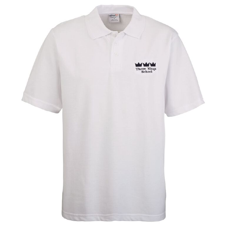Schooltex Three Kings Short Sleeve Polo with Embroidery, White, hi-res