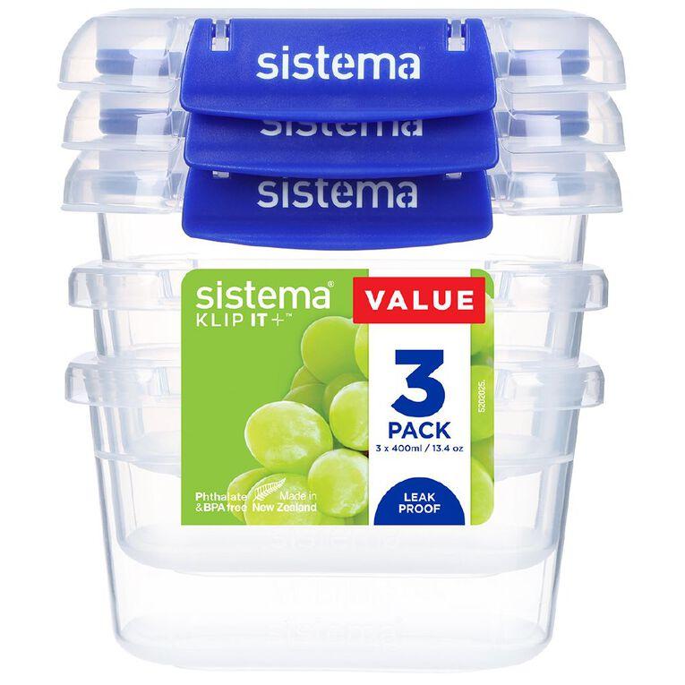 Sistema Klip It Plus Rectangle Container 3 Pack Assorted 400ml, , hi-res