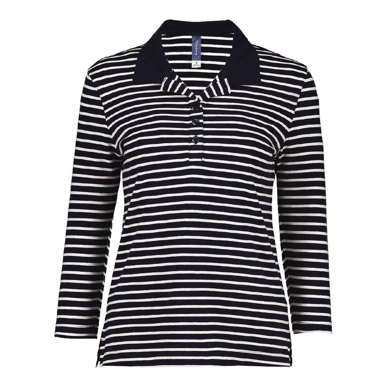 Pickaberry 3/4 Sleeve Polo Shirt, Navy/White, hi-res