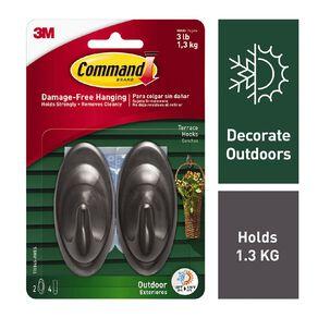 Command Outdoor Hooks & Foam Strips Slate Terrace 2 Hooks