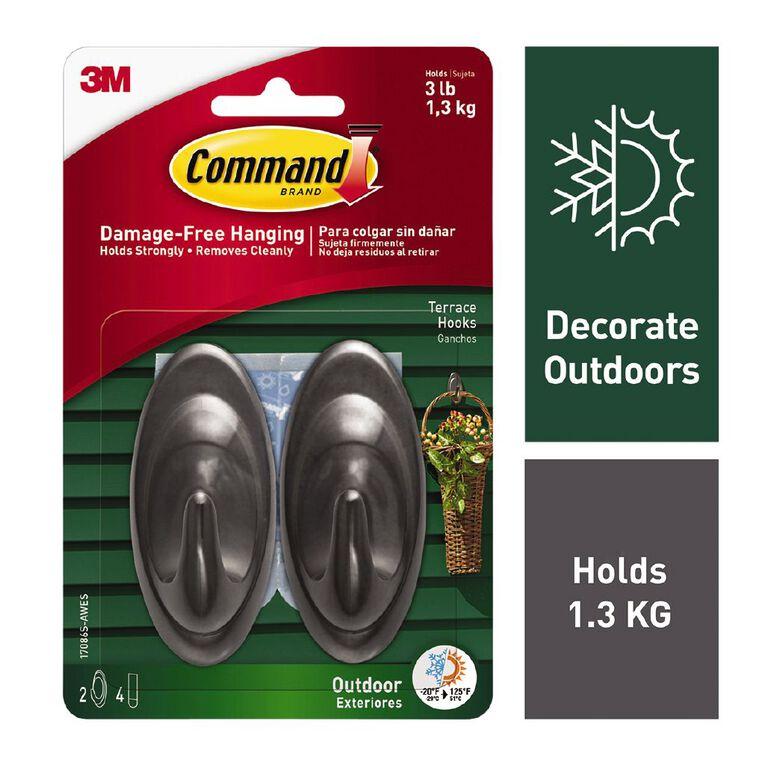 Command Outdoor Hooks & Foam Strips Slate Terrace 2 Hooks, , hi-res