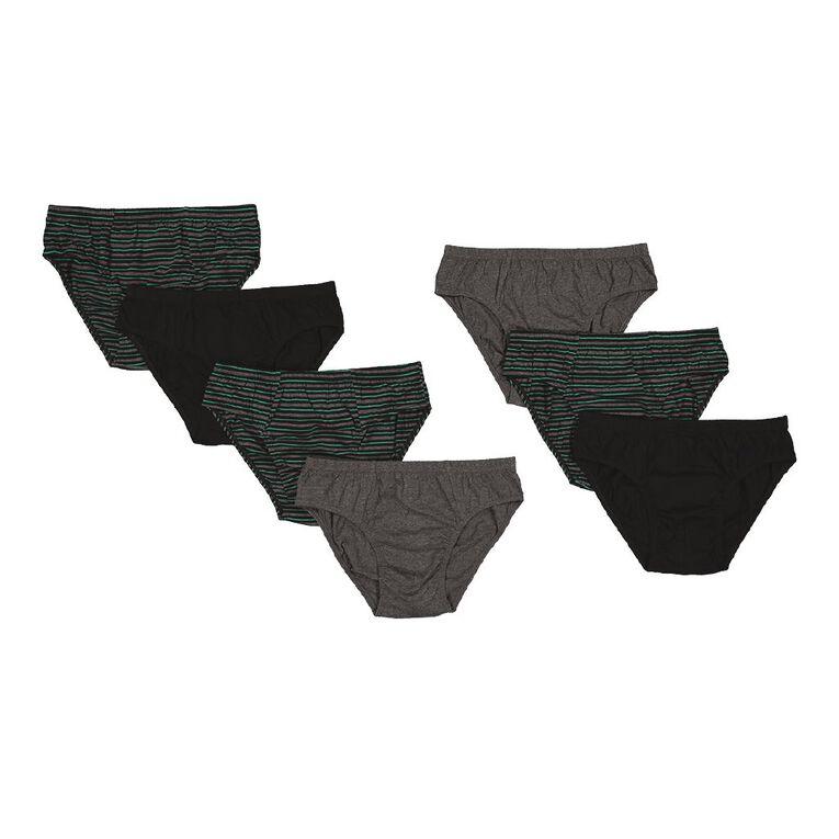 H&H Men's Briefs Stripe 7 Pack, Black/Green, hi-res