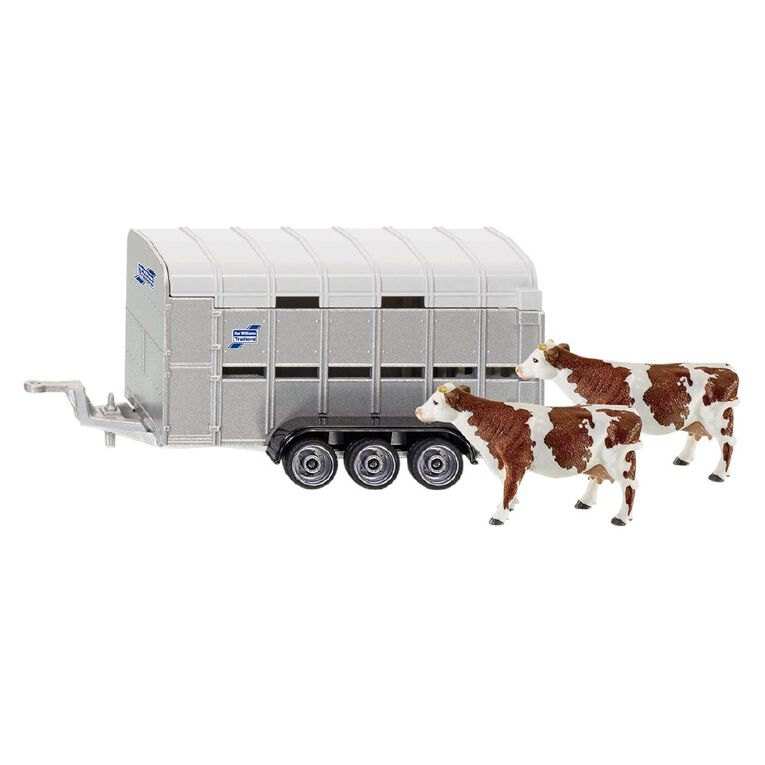 Siku 1:32 IFor-Williams Stock Trailer with 2 Cows, , hi-res