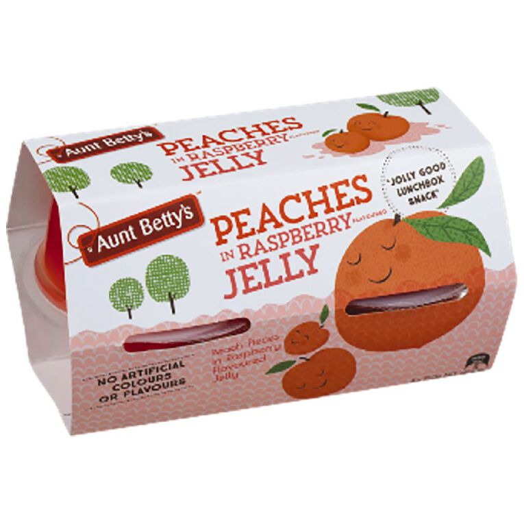 Aunt Betty's Fruit Pots Peaches In Raspberry Jelly 130g, , hi-res