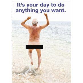 John Sands Birthday Card Humour Naked Man Running Into Sea