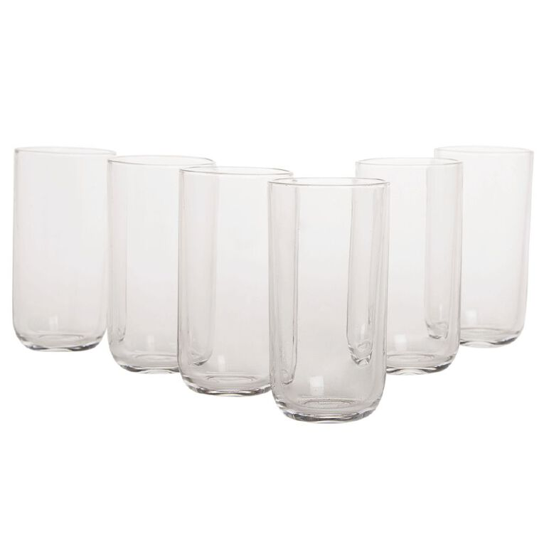 Living & Co Rounded Hiball Glass Tumblers 430ml 6 Pack, , hi-res