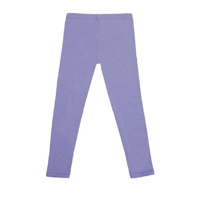 Young Original Girls' 7/8 Plain Leggings, Purple, hi-res