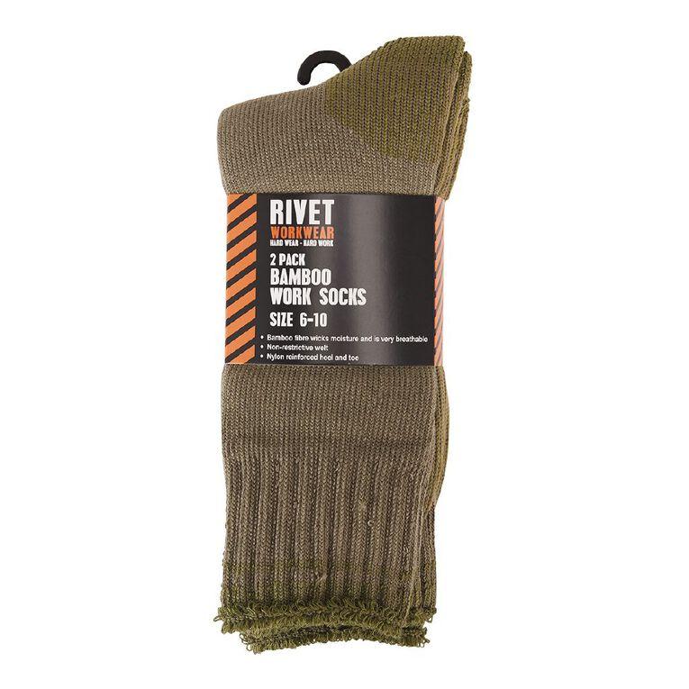 Rivet Men's Work Socks 2 Pack, Khaki, hi-res