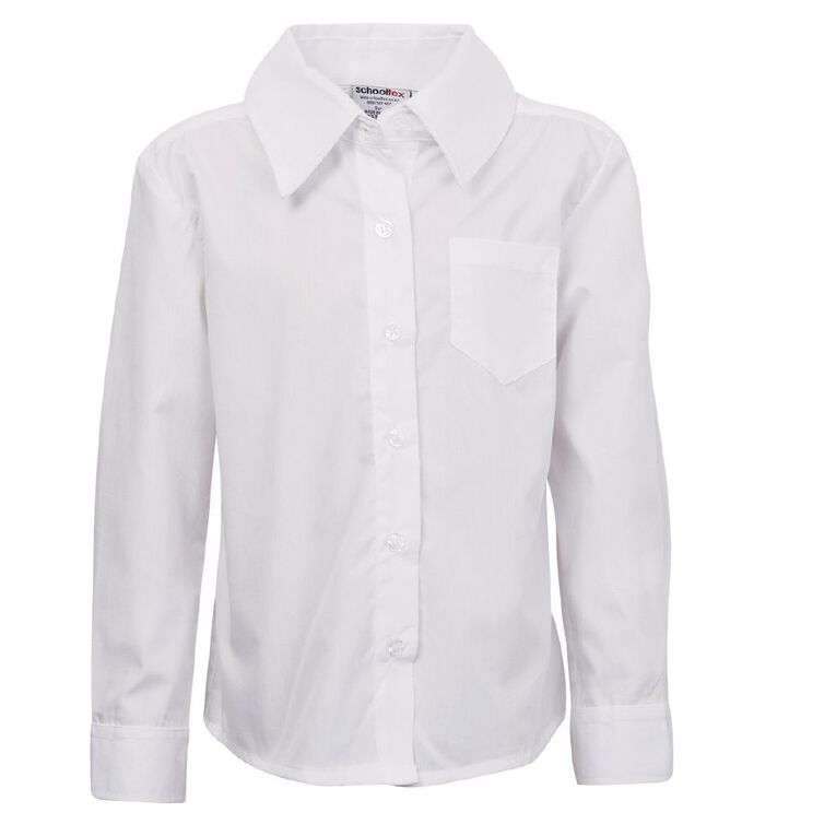 Schooltex Girls' Button Neck School Blouse, White, hi-res