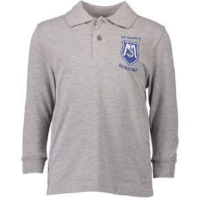 Schooltex St Mary's Hokitika Long Sleeve Polo with Transfer