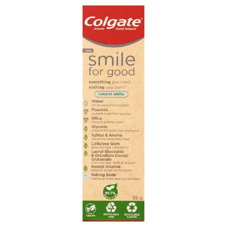 Colgate Smile for Good Natural White Toothpaste with Recyclable Tube 95g, , hi-res