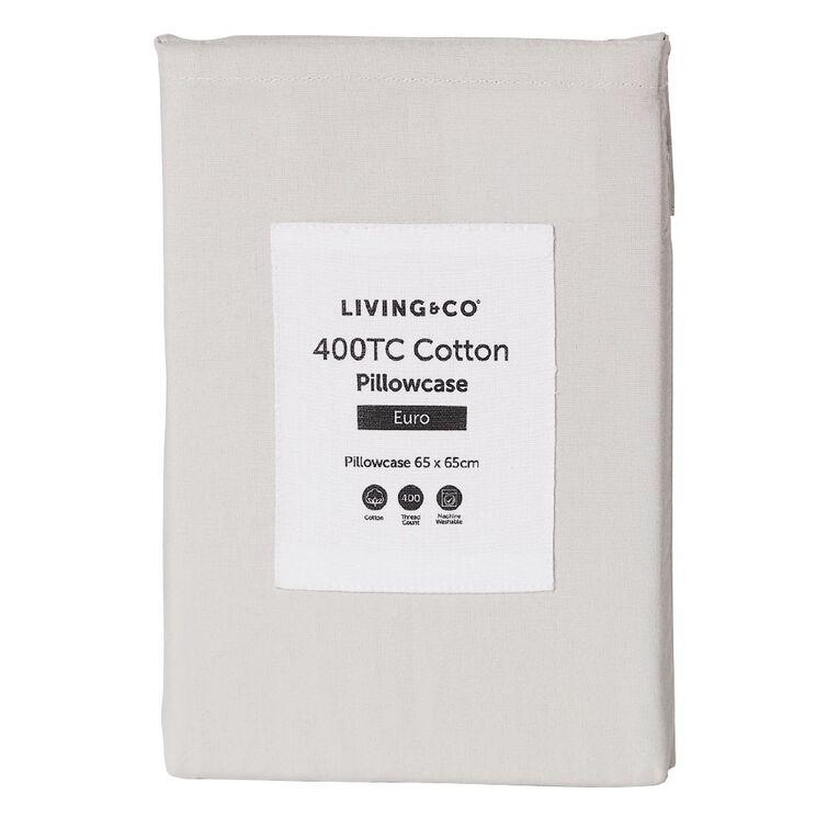 Living & Co Pillowcase Euro Cotton 400 Thread Count Grey 65cm x 65cm, Grey, hi-res