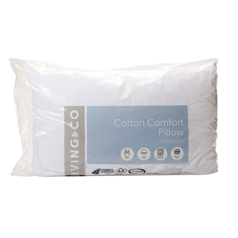 Living & Co Pillow Cotton Comfort White 72cm x 44cm, White, hi-res
