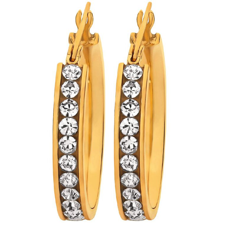 Stainless Steel Yellow Gold Plated CZ Channel Hoop Earrings, , hi-res