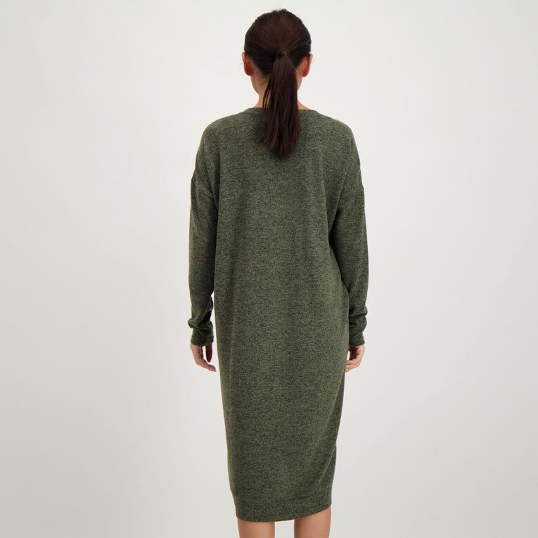H&H Women's Brushed Knit V Neck Dress, Green Mid, hi-res
