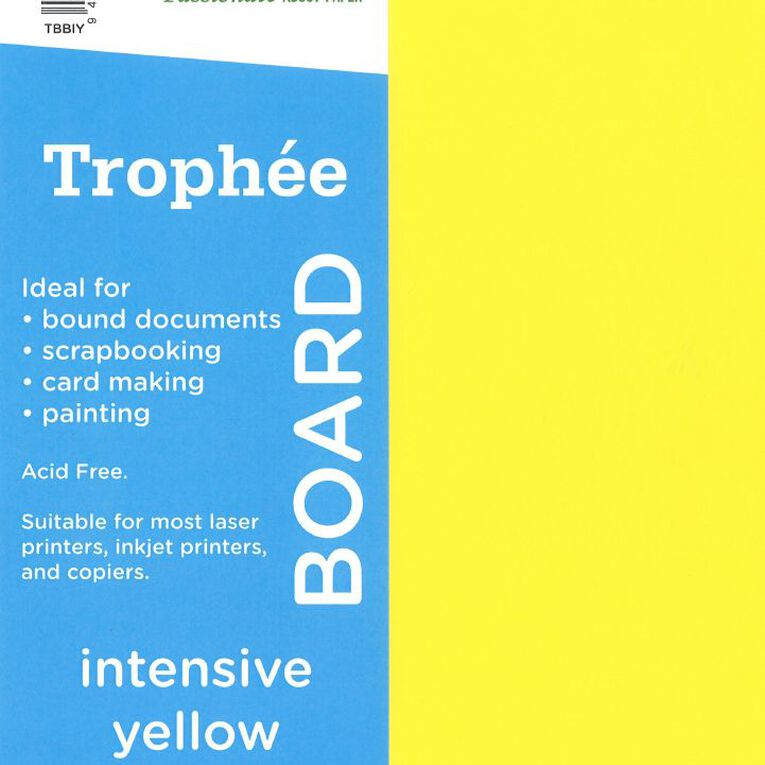 Trophee Board 210gsm 100 Pack Intensive Yellow A4, , hi-res