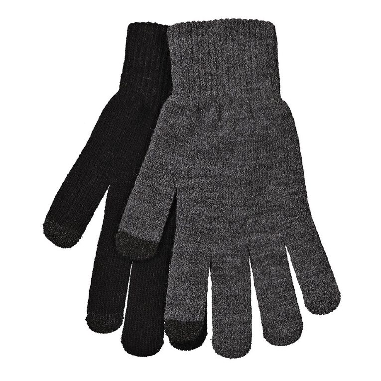 H&H Men's Touch Screen Gloves, Black, hi-res