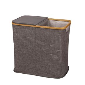 Living & Co Dual Hamper with Bamboo Frame Natural