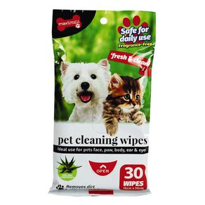 Max Treats Pet Cleaning Wipes Fragrance Free 30 Sheets