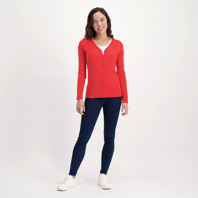 H&H Women's Button Through Cardigan, Red, hi-res image number null