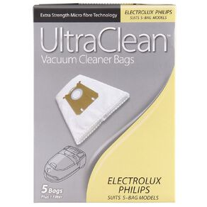 Ultra Clean Vacuum Bags For Electrolux/Philips 5 Pack