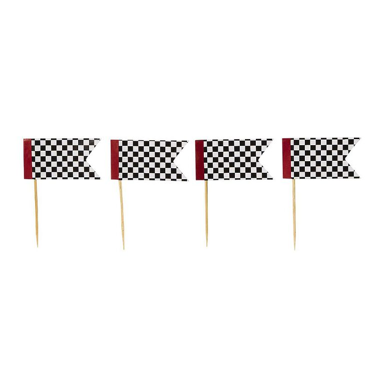 Party Inc Checkered Flag Cupcake Toppers 12 Pack, , hi-res