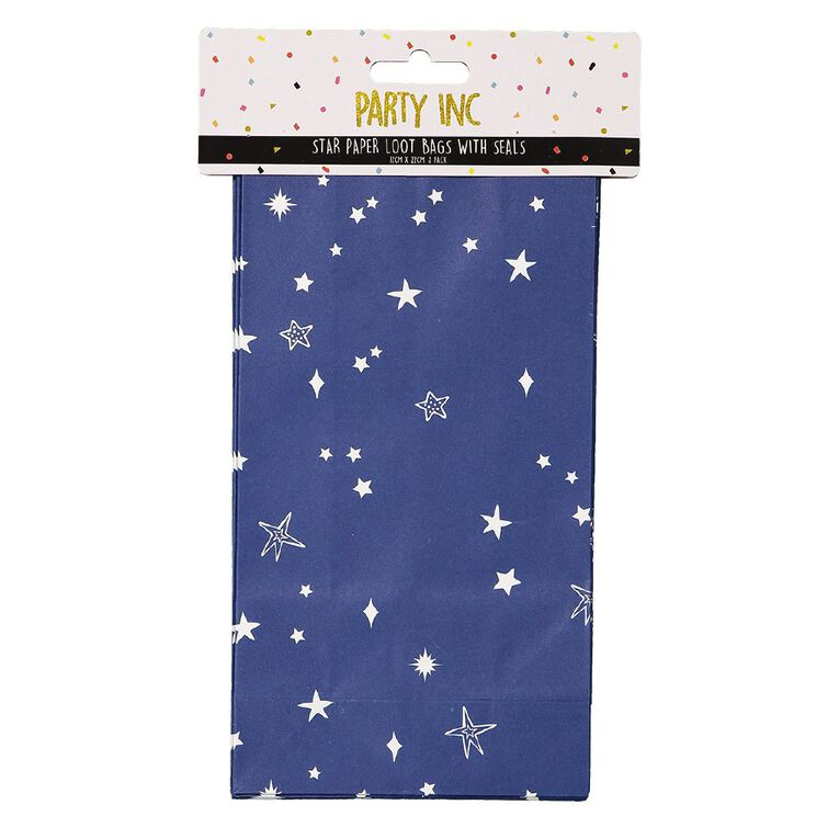 Party Inc Star Loot Bags with Seals 12cm x 6.5cm x 22cm 8 Pack, , hi-res