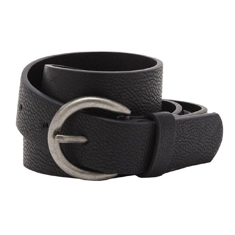 H&H Women's Jean Round Buckle Belt, Black, hi-res