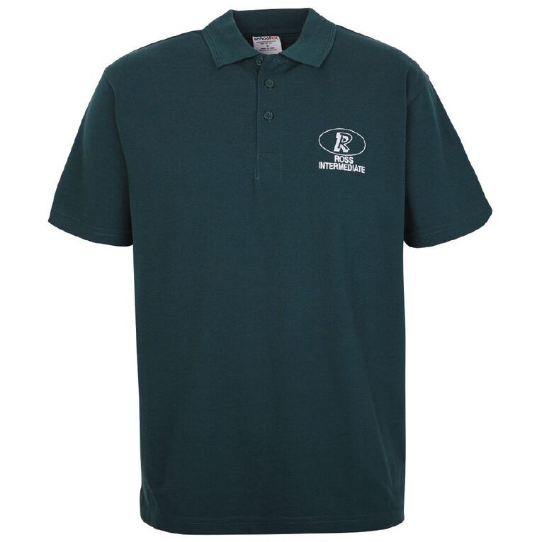 Schooltex Ross Intermediate Short Sleeve Polo with Embroidery, Bottle Green, hi-res