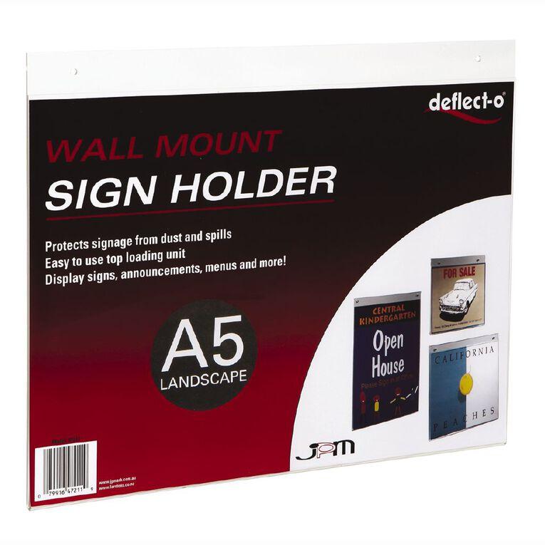 Deflecto Sign/Menu Holder Wall Mounting Landscape Clear A5, , hi-res