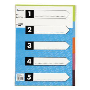 Dividers Card 5 Tab Multi-Coloured A4