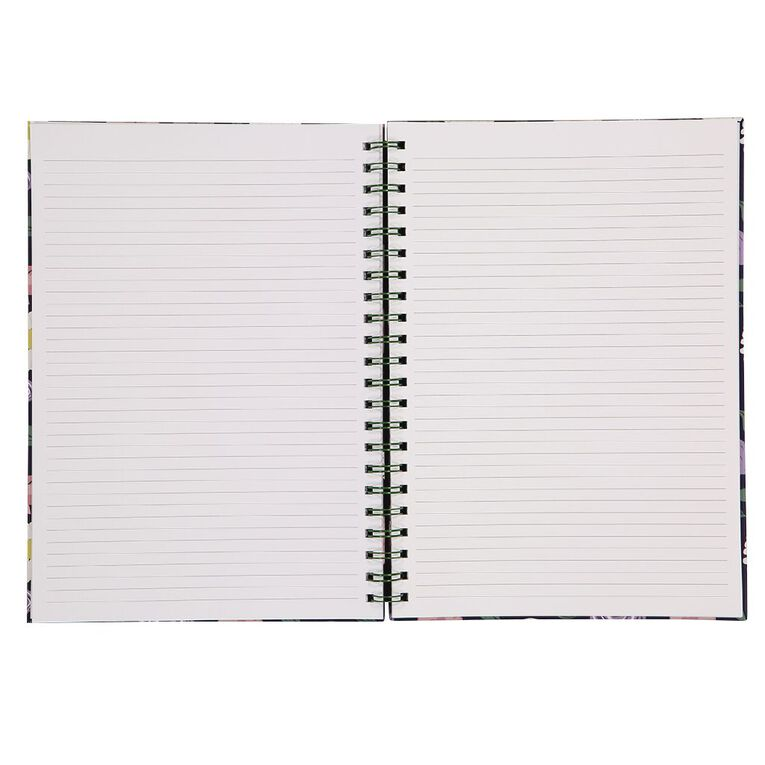 Uniti Blossom Hardcover Spiral Notebook Floral Navy A4, , hi-res