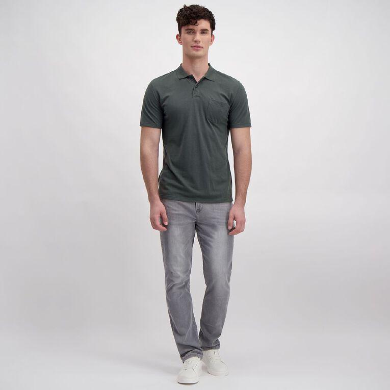 H&H Men's Short Sleeve Pique Pocket Polo, Charcoal, hi-res