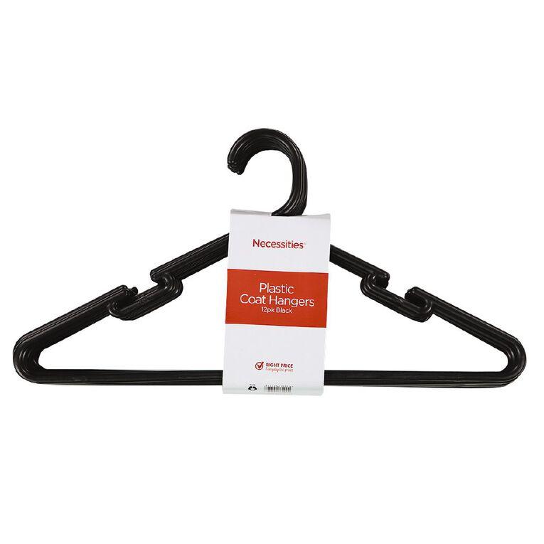 Living & Co Coat Hangers Plastic Black 12 Pack, , hi-res