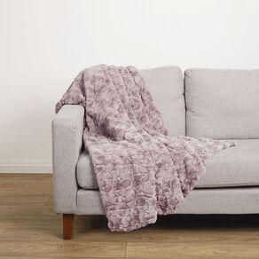 Living & Co Textured Faux Fur Throw Bark Pink 120cm x 140cm