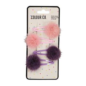 Colour Co. Pink Pom Pom Hair Clips 4 Pack