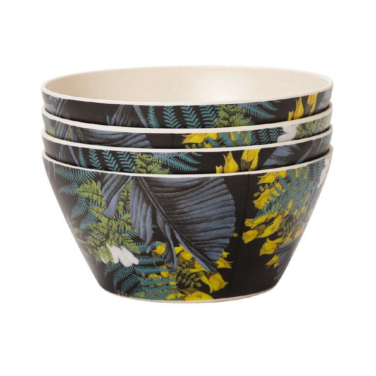 Living & Co Kiko Bamboo Bowl Printed 4 Pack, , hi-res