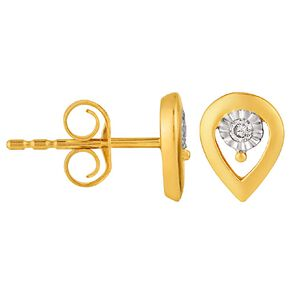 0.03 Carat Diamond 9ct Gold Miracle Plate Pear Stud Earrings