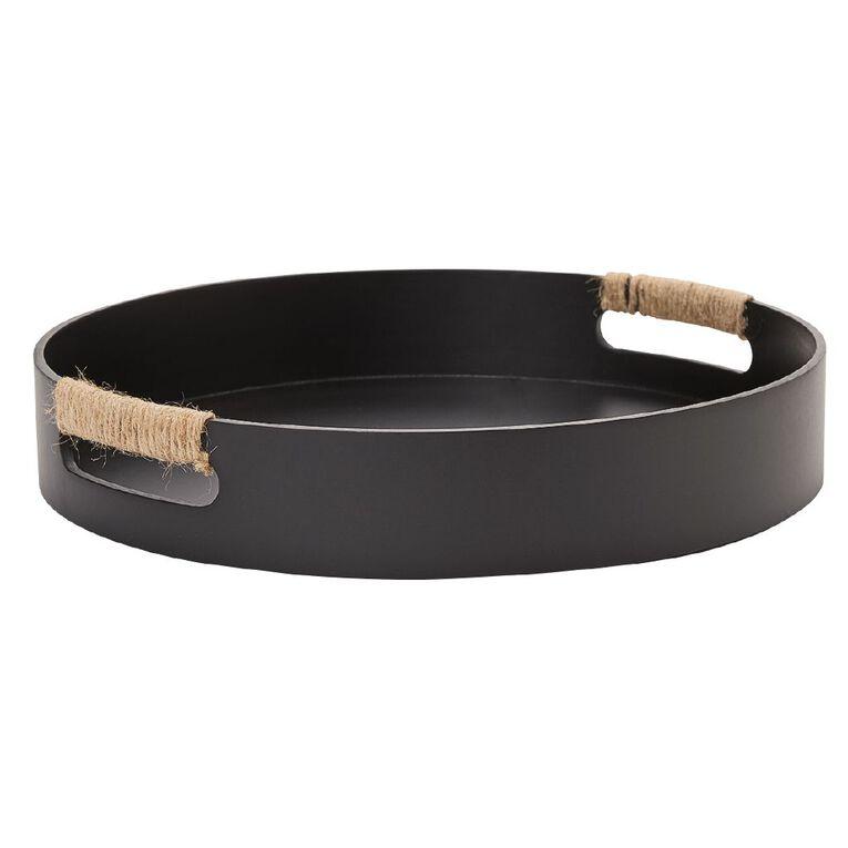 Living & Co Tray Round MDF Black 35cm, Black, hi-res